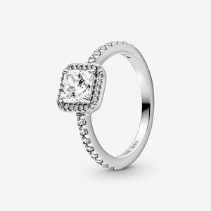 🔥PANDORA Square Sparkle Halo Ring